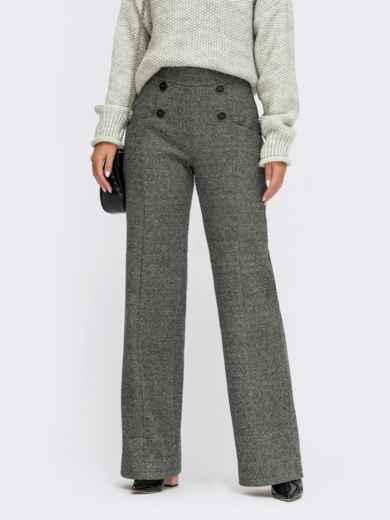 Серые брюки из жаккарда с декоративными пуговицами 55586, фото 1