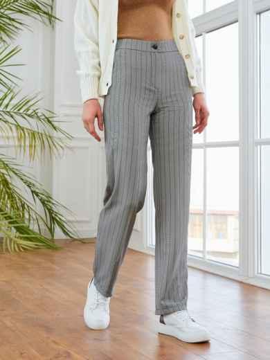 Серые брюки в полоску с завышенной талией 53549, фото 1