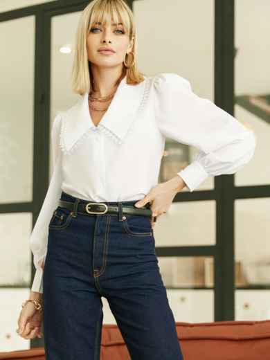 Блузка с акцентным воротником белая 52975, фото 1