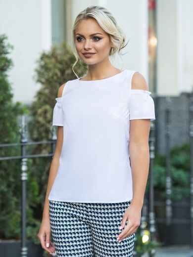 Белая блузка с открытыми плечами и рукавами на резинке - 14271, фото 3 – интернет-магазин Dressa