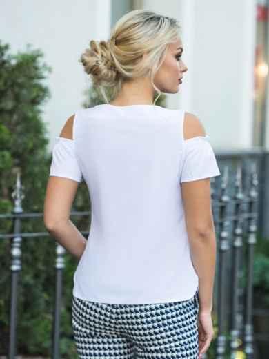 Белая блузка с открытыми плечами и рукавами на резинке - 14271, фото 4 – интернет-магазин Dressa