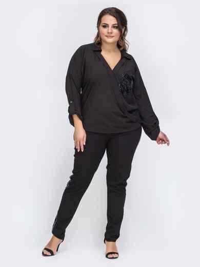 Брючный костюм батал с пайетками на блузке чёрный 43765, фото 1