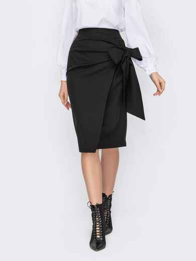 Черная юбка-карандаш с запахом и бантом сбоку 52976, фото 1