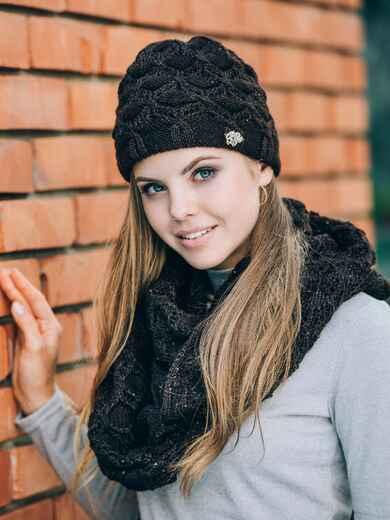 Черные шапка с утеплением и хомут - 14880, фото 1 – интернет-магазин Dressa