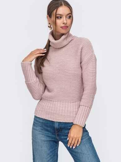 Пудровый укороченный вязаный свитер с высоким воротником 50392, фото 1