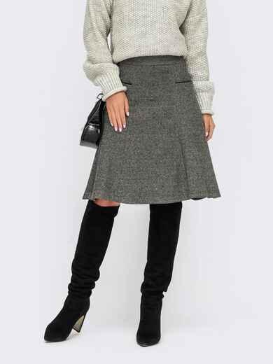 Серая юбка из жаккарда с карманами с контрастной отделкой 55587, фото 1