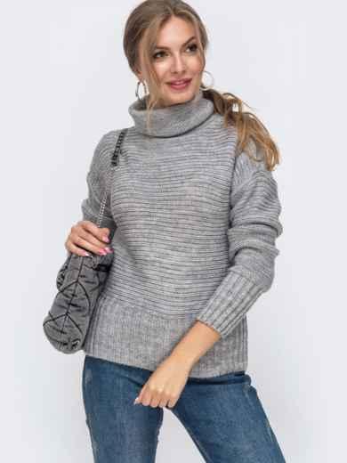 Серый укороченный вязаный свитер с высоким воротником 50394, фото 2
