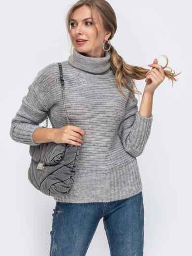 Серый укороченный вязаный свитер с высоким воротником 50394, фото 3