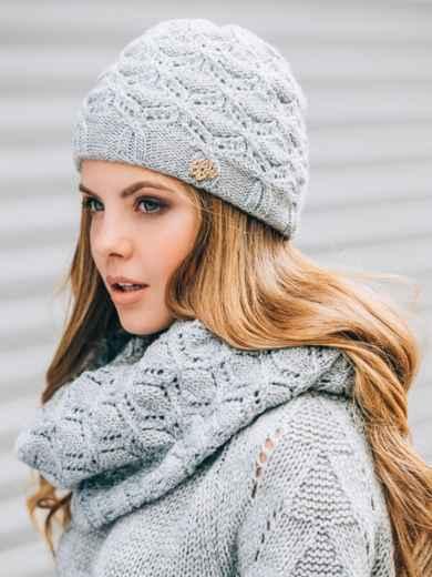 Светло-серые шапка с утеплением и хомут - 14879, фото 2 – интернет-магазин Dressa