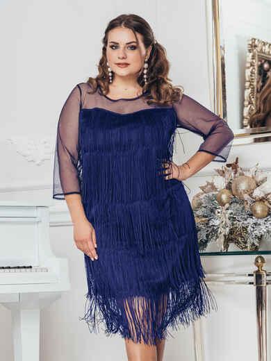 Тёмно-синее платье большого размера с многоярусной бахромой 52530, фото 1