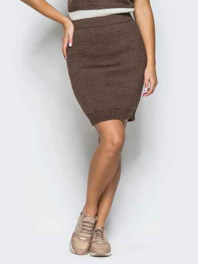 Юбка коричневого цвета мелкой вязки - 17123, фото 1 – интернет-магазин Dressa