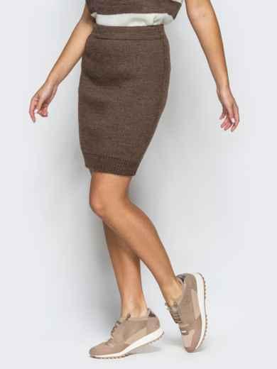 Юбка коричневого цвета мелкой вязки - 17123, фото 2 – интернет-магазин Dressa