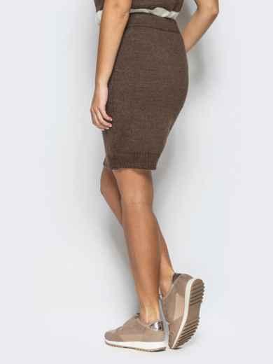 Юбка коричневого цвета мелкой вязки - 17123, фото 3 – интернет-магазин Dressa