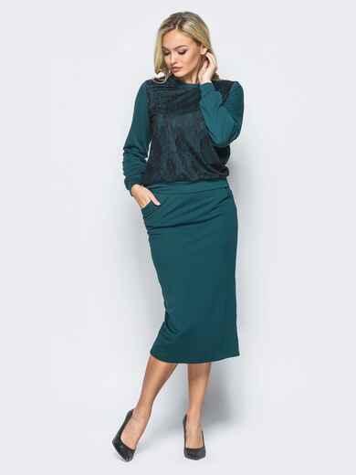 Зелёный комплект из двунитки с карманами на юбке - 16115, фото 1 – интернет-магазин Dressa