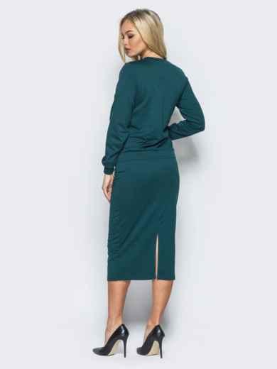 Зелёный комплект из двунитки с карманами на юбке - 16115, фото 3 – интернет-магазин Dressa