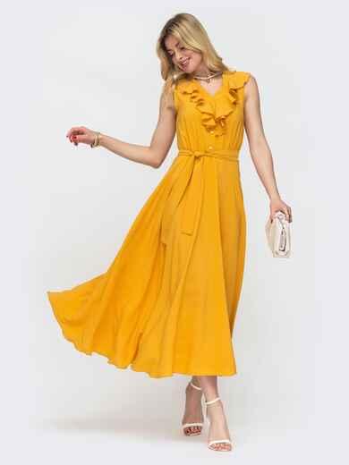 Жёлтое платье с оборкой по вырезу и резинкой в поясе 48486, фото 1