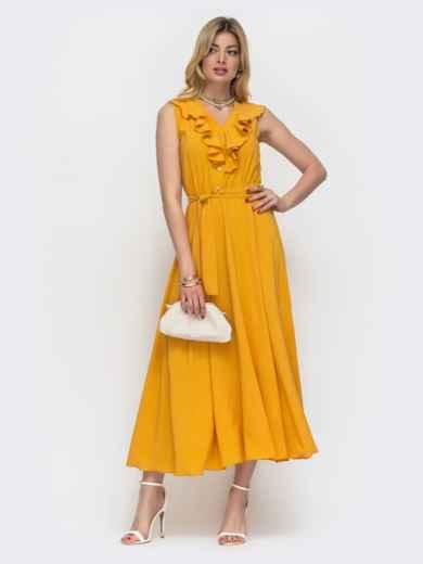 Жёлтое платье с оборкой по вырезу и резинкой в поясе 48486, фото 2