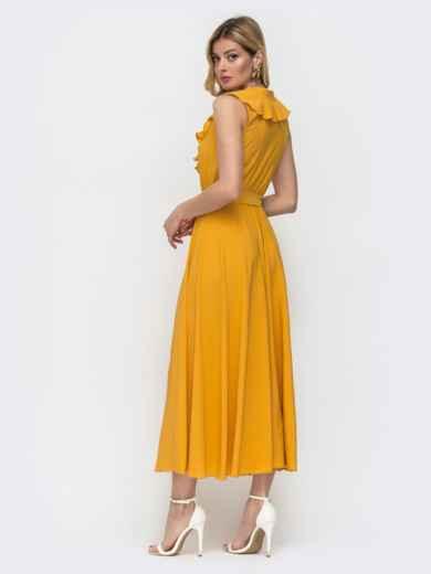 Жёлтое платье с оборкой по вырезу и резинкой в поясе 48486, фото 3