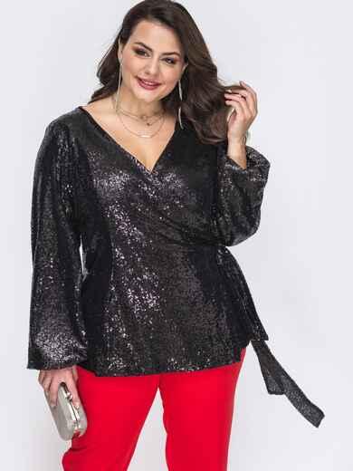 Блузка большого размера на запах с пайетками чёрная 52157, фото 1