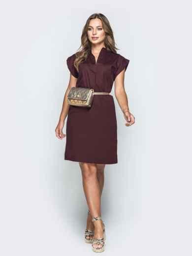 Бордовое платье с V-вырезом и накладным карманом 38882, фото 1