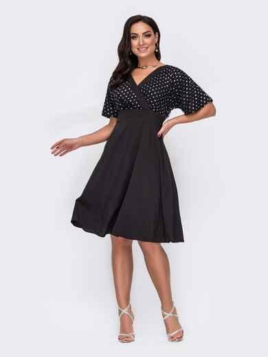 Чёрное платье батал с кокеткой из сетки и пайеток 52159, фото 1
