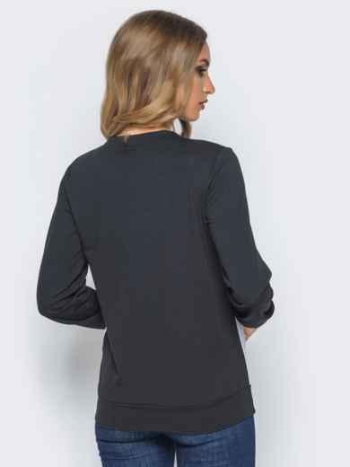 Черный трикотажный свитшот с надписью на полочке - 16195, фото 3 – интернет-магазин Dressa