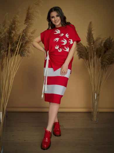 Красный комплект батал из блузки и юбки 47147, фото 1