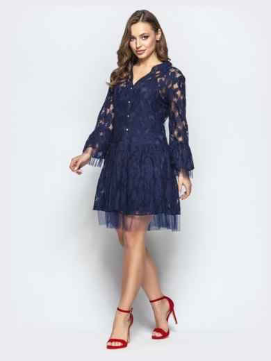 Кружевное платье-рубашка с двухъярусным низом синее - 22261, фото 2 – интернет-магазин Dressa