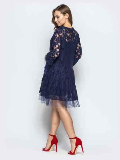 Кружевное платье-рубашка с двухъярусным низом синее - 22261, фото 3 – интернет-магазин Dressa