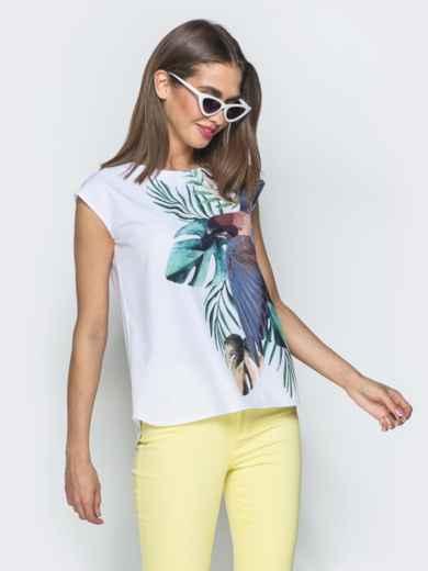 Принтованная блузка без рукавов белая - 39521, фото 2 – интернет-магазин Dressa