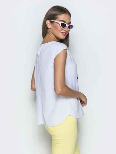 Принтованная блузка без рукавов белая - 39521, фото 3 – интернет-магазин Dressa