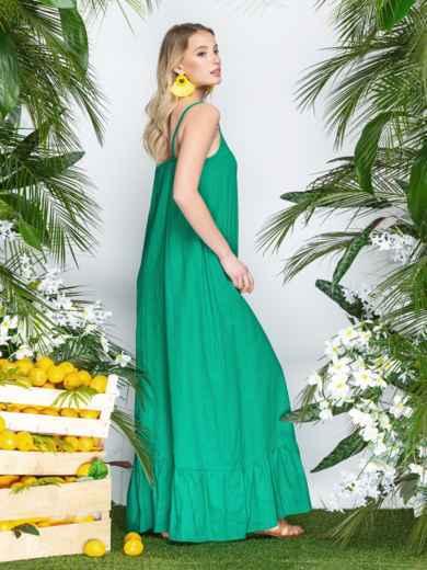 Сарафан из льна в этно-стиле с оборкой по низу зеленый - 21937, фото 2 – интернет-магазин Dressa