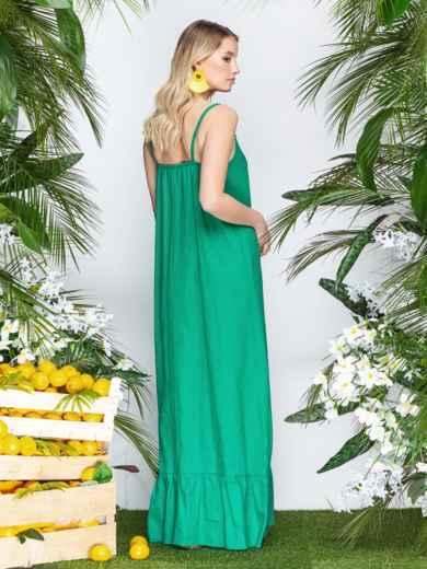 Сарафан из льна в этно-стиле с оборкой по низу зеленый - 21937, фото 3 – интернет-магазин Dressa