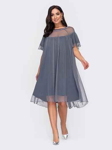 Свободное платье батал с жемчужинами по вырезу серое 52156, фото 1
