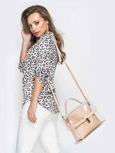 Трендовая прозрачная сумка бежевого цвета - 21451, фото 1 – интернет-магазин Dressa