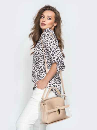 Трендовая прозрачная сумка бежевого цвета - 21451, фото 2 – интернет-магазин Dressa