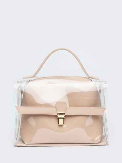 Трендовая прозрачная сумка бежевого цвета - 21451, фото 3 – интернет-магазин Dressa