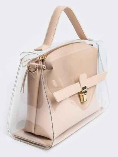 Трендовая прозрачная сумка бежевого цвета - 21451, фото 4 – интернет-магазин Dressa