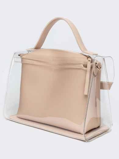 Трендовая прозрачная сумка бежевого цвета - 21451, фото 5 – интернет-магазин Dressa