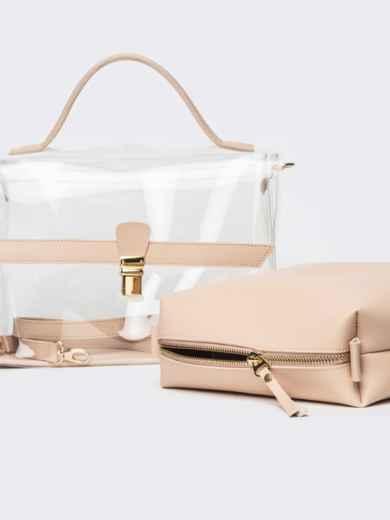 Трендовая прозрачная сумка бежевого цвета - 21451, фото 6 – интернет-магазин Dressa
