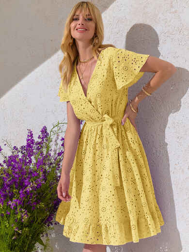 Желтое платье из прошвы с резинкой по талии 53902, фото 1
