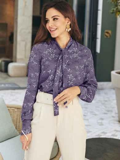 """Фиолетовая блузка с цветочным принтом и воротником """"аскот""""  55362, фото 1"""