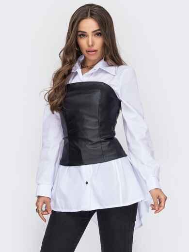 Белая рубашка с черным корсетом из экокожи 53556, фото 1