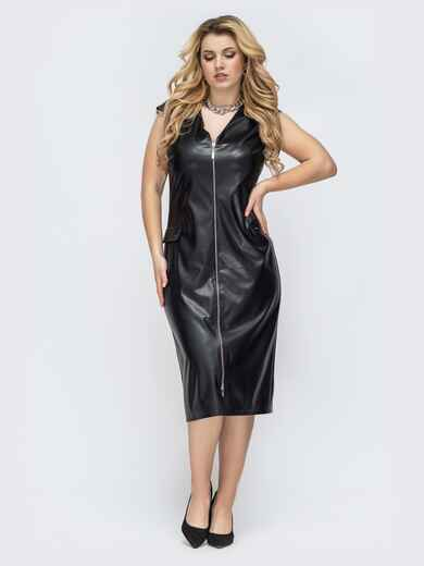 Чёрное платье батал из искусственной кожи на молнии 45294, фото 1