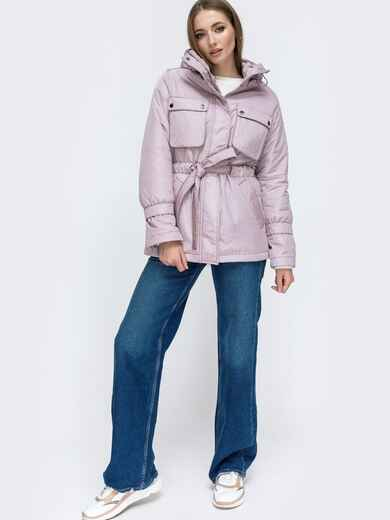 Демисезонная куртка с кулиской по талии серая 45170, фото 1
