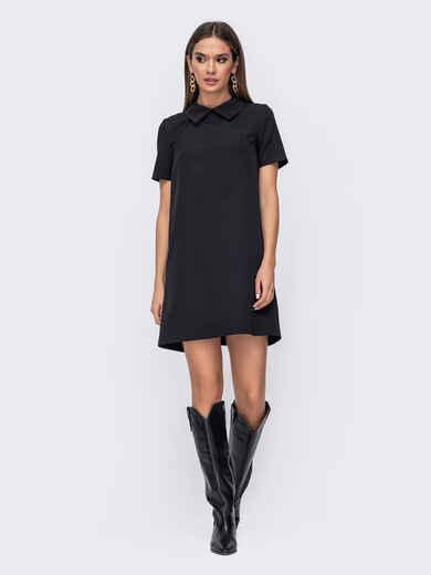 Короткое платье прямого кроя черное 52383, фото 1