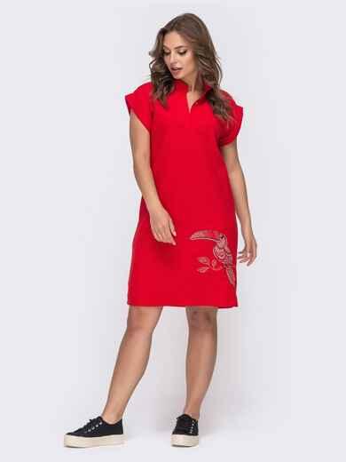 Льняное платье красного цвета с вышивкой 48158, фото 1