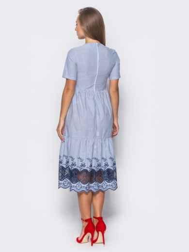 Многоярусное платье с синей прошвой по низу  - 11191, фото 3 – интернет-магазин Dressa