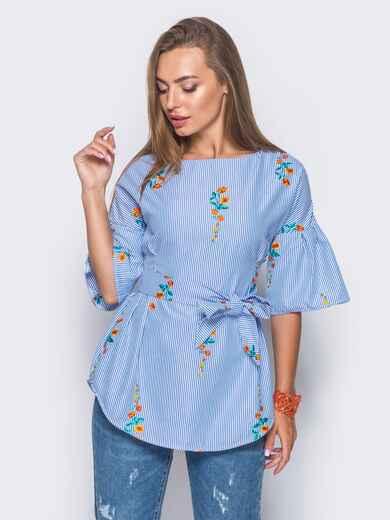 Приталенная блузка с оранжевым принтом с рукавами-воланами 10158, фото 2