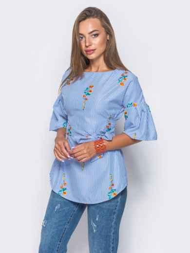 Приталенная блузка с оранжевым принтом с рукавами-воланами 10158, фото 3
